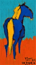 2020.10.25 ex-04 PakjeKunst, blauw paard met gele manen